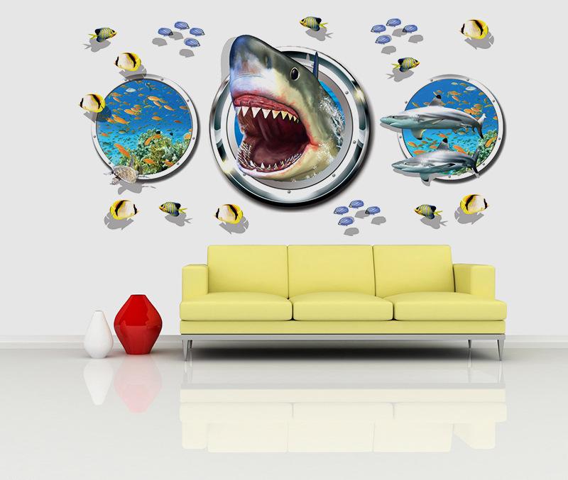 3d Shark Diy Wandaufkleber Fisch Tier Wohnzimmer Dekor Wasserdicht Familly Landschaft Removable Zubehr Liefert Decals Artikel