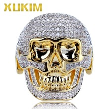 Xukim Jewelry Silver Gold Color Gothic Skeleton Skull Ring for Men Iced Out AAA Cubic Zircon Rapper Hip Hop Jewelry Gift Party new arrival luxury aaa cubic zirconia ring fashion unisex lovers hip hop silver gold color ring