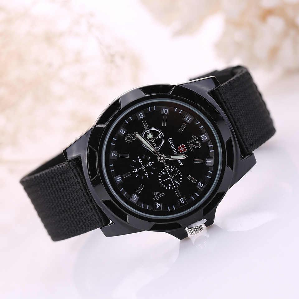 48dab2bf16d Новый известный бренд для мужчин часы военный армейский военный холст  ремень ткань Аналоговые кварцевые наручные часы
