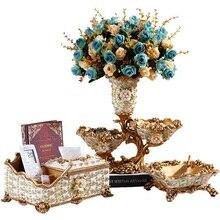 Роскошный журнальный столик для гостиной практичные аксессуары креативная ваза коробка ткани фруктовая тарелка