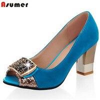 Asumer grande taille 32-43 femmes pompes peep toe confortable nouveau arrivent haute qualité strass bout rond épais talons chaussures d'été