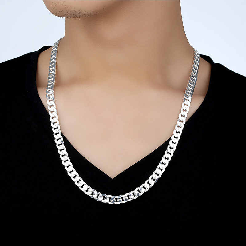Men 10MM Hip Hop Chain Necklaces 925 Sterling Silver Jewelry AAA Quality Statement Necklace For Male 22-26 Inches