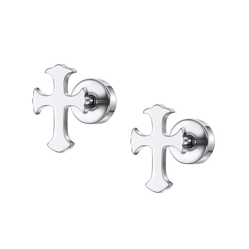 pair Stainless Steel Black Star Journey Stud Earring