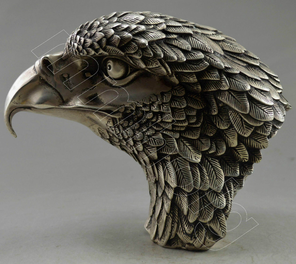 Collectible Decorated Old Handwork Tibet Silver Carve Big Eagle Head Statue copper tools wedding Decoration Brass Bronze