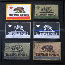 Embroidered CALIFORNIA REPUBLIC State Patches United States State Flag Patch Tactical 3D Badge Fabric Flag Armband Cloth Badges embroidered patches united states new york state flag patch tactical 3d national flags army armband badge