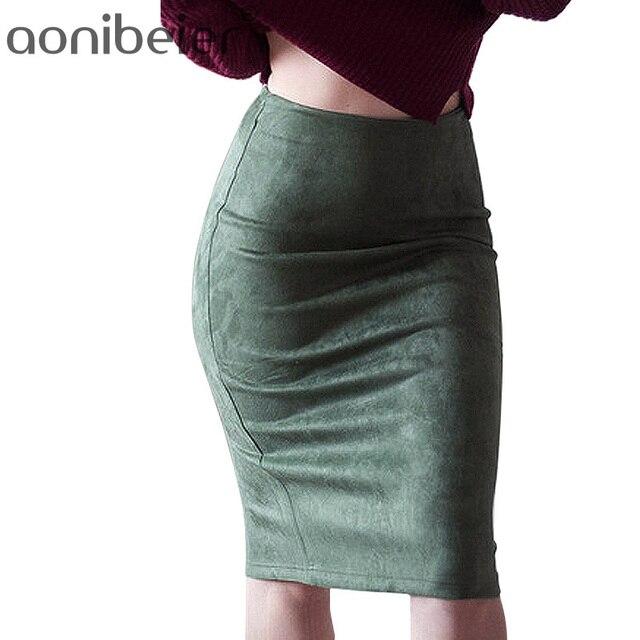 Женские юбки замши Твердые Цвет юбка-карандаш женский осень-зима Высокая Талия Bodycon Vintage Suede Разделение плотного эластичного юбки