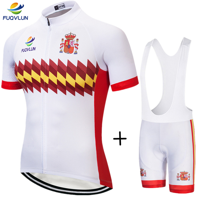 2018 FUQVLUN Cycling Clothing Set Spain Cycling Jerseys Bike Clothing Bicycle Short ropa ciclismo Sportwear Bike Clothes #6K68
