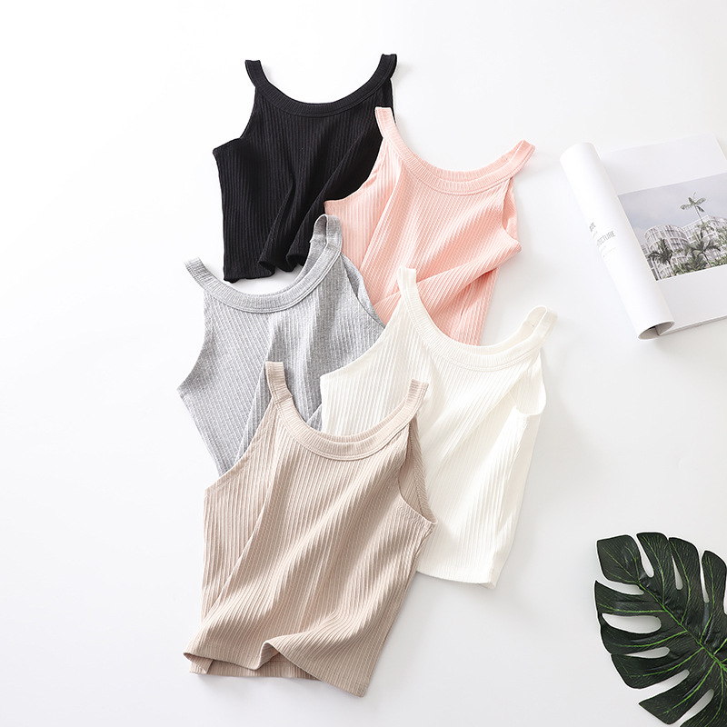2018 soft Rib navel short Women Sexy Soft   Tank     Tops   Solid Sleeveless vest,Camisole Vest   Top   Cropped For Ladies