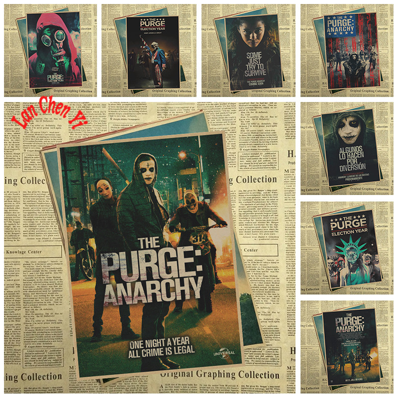 PURGE ANARCHY Matte Kraft Paper Poster Office Gift Room Dining Home Decor wall sticker Design
