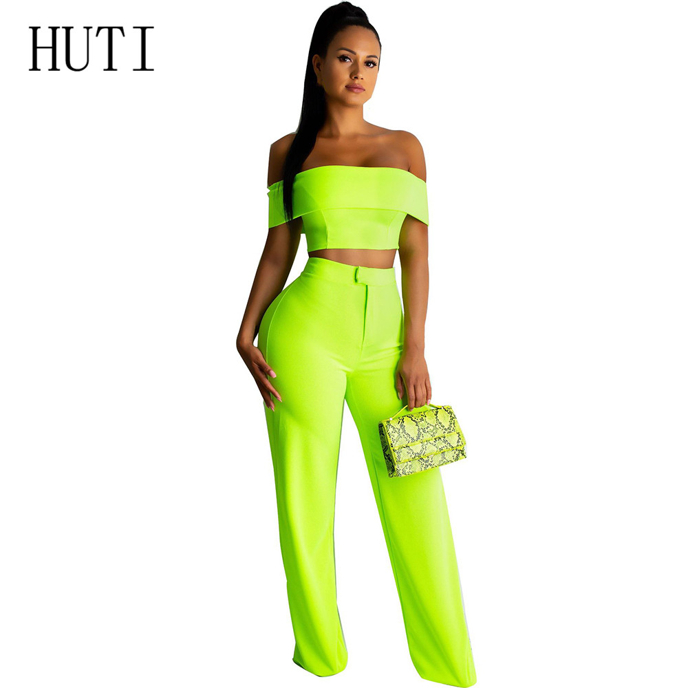 HUTI Sexy Strapless Short Sleeve Two Pieces Sets Jumpsuits Summer Hollow Out Elegant Playsuits Female Banquet Women Overalls