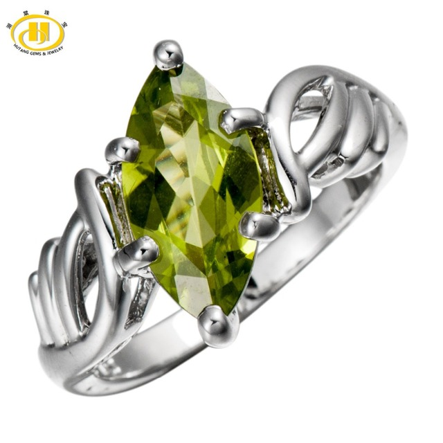 Hutang Natural Peridot Solid 925 Sterling Silver Ring For Women Marquise Gemstone Fine Jewelry