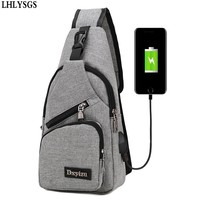 LHLYSGS Brand Charge Anti Theft Chest Pack Fashion Men Portable Waterproof Travel Organizer Shoulder Bags Wallet
