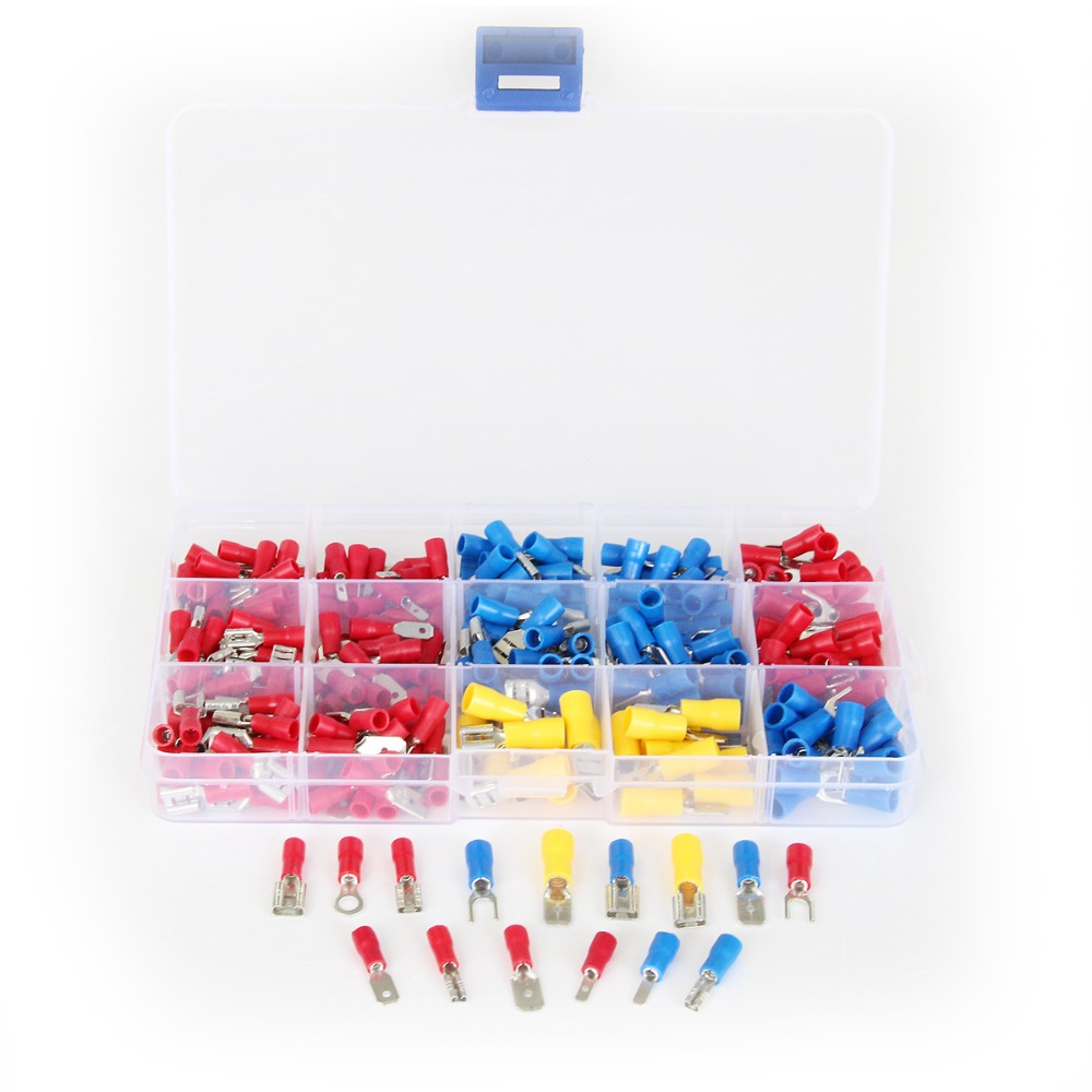 280Pcs Assortment Electrical Wire Connectors Red Blue Yellow Insulated Spade Crimp Terminals Kits pro skit pm 912 insulated combination pliers red yellow 175mm