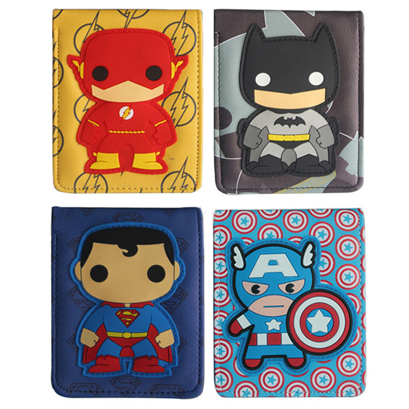DC Marvel Super Heroes Batman Superman The Flash Q Version Cartoon Wallets Cosplay Leather PU Bifold Unisex Men&Women Purse