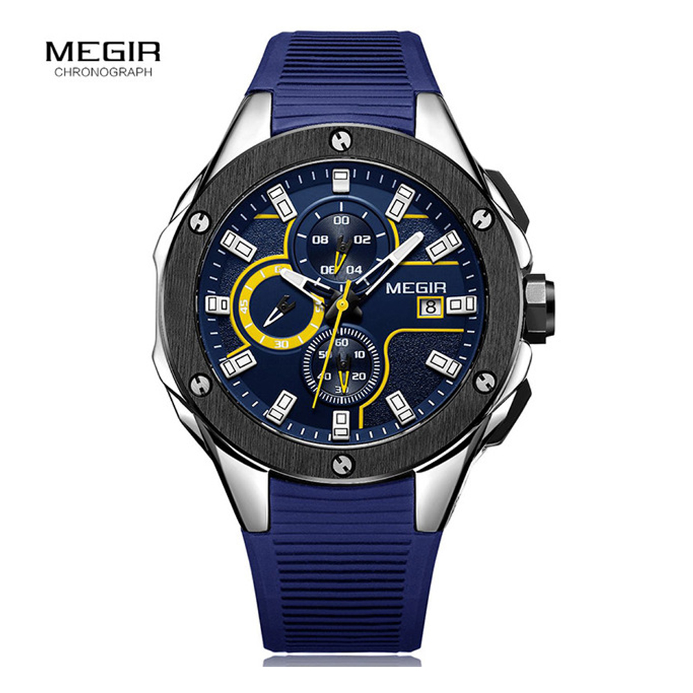 MEGIR 2017 New Men Sports Watch Silicone Strap Quartz Military Watches  Chronograph Clock Men Luxury Male Relogio Masculino 2053 weide new men quartz casual watch army military sports watch waterproof back light men watches alarm clock multiple time zone
