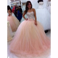 Light Pink Sweetheart Strapless Beaded Bodice Quincenera Dress Sweet 16 Dresses Vestido De Debutante