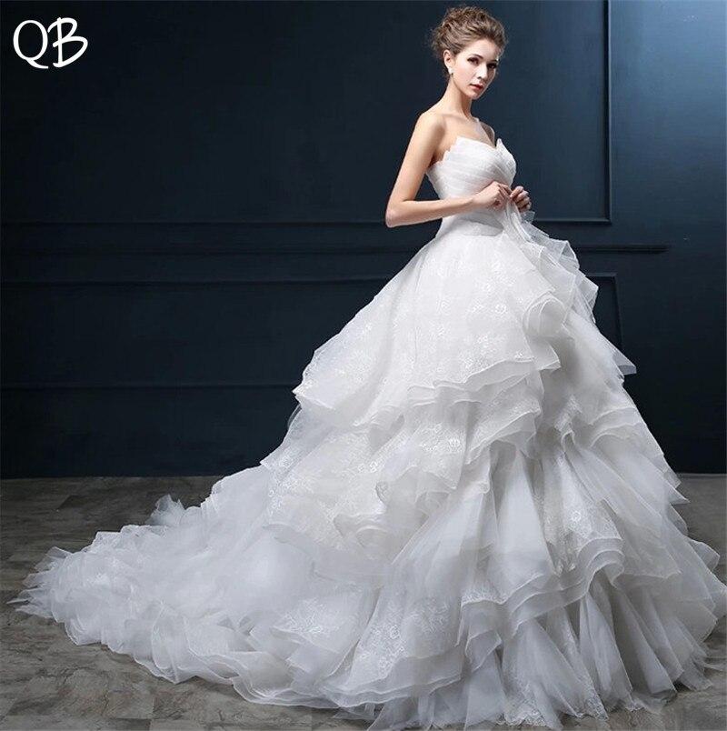 Ruffle Ball Gown Wedding Dress: Custom Size Ball Gown Sweetheart Ruffle Train Lace Crystal