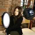 Super delgado ronda llevó la luz de vídeo con adaptador de corriente regulable para canon nikon pentax dslr cámara de vídeo videocámara material mater