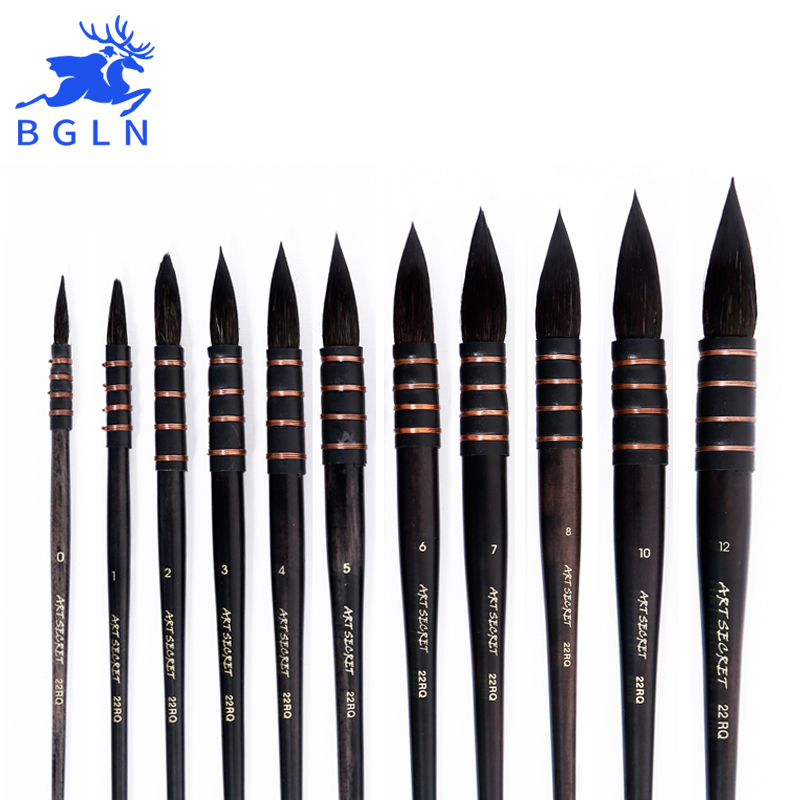 1Piece Handmade Squirrel's Hair Artist Watercolor Paint Brush French Style Pointed Painting Brushes For Watercolor Art Supplies