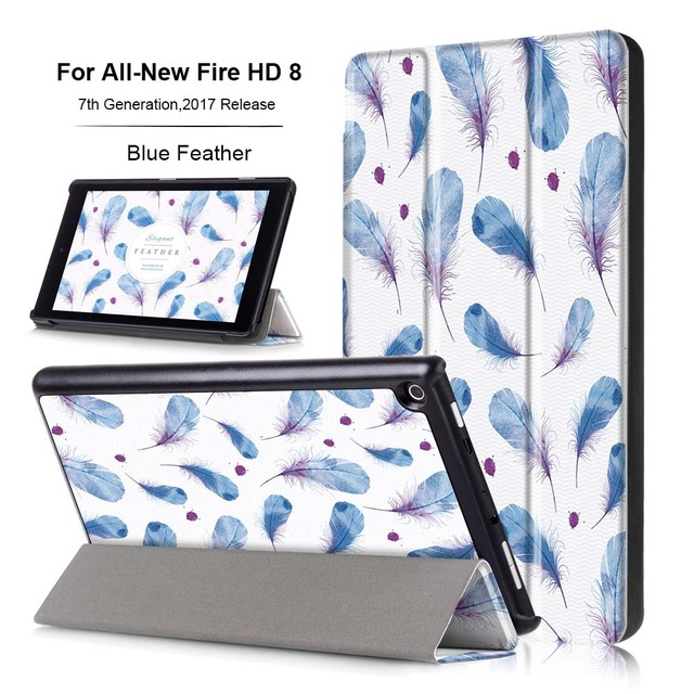 US $15 99 |Case For Amazon Kindle Fire HD 8 Tablet 2017 Release,Ultra thin  Print Folding Stand Smart Case Cover For New Fire HD 8 2017-in Tablets &