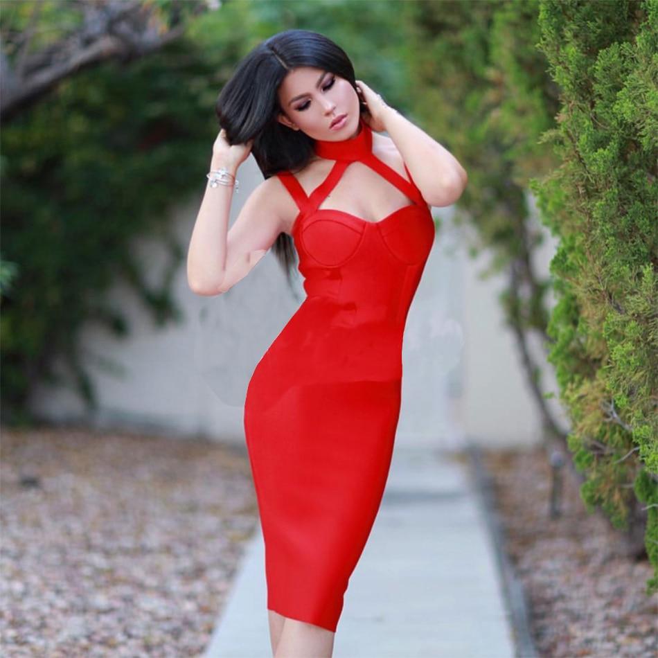 2016 New Winter Women Bandage Dress Sleeveless V Neck Spaghetti Strap Split Elegant Lady Evening Party