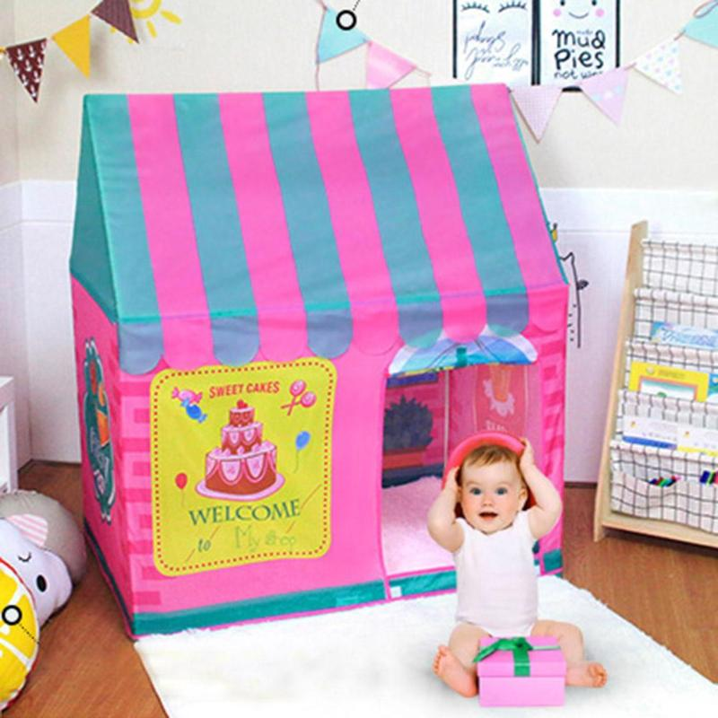 Portable Girls Pink Castle Cute Playhouse Children Play Ball Tent Baby Kids Gift