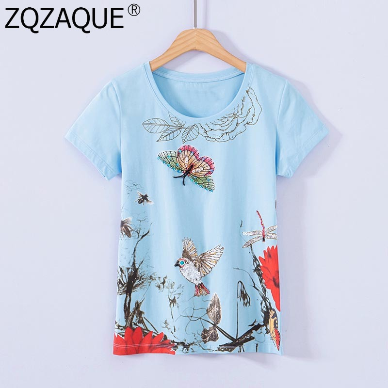 100% Handmade Beading Sequins T-Shirts For Women T Shirt Chic Printing Tops Female Quality Cotton Shirts 2019 Spring Summer New