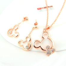 jewelry sets Gift Mickey Pendant Necklace Drop Earrings Austrian Crystal Fashion weeding necklaces Set For ensemble bijoux Women