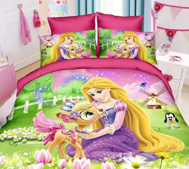 Tangled Rapunzel Princess Bedding Set For Kids Bedroom Decor Single Twin Size Bedspreads Duvet Covers Sheets