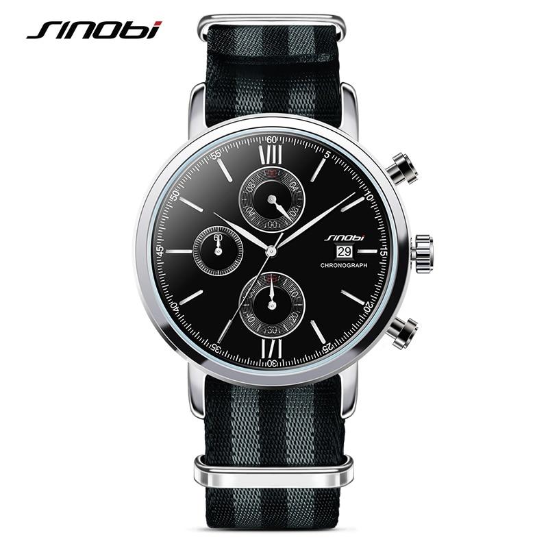 SINOBI Mens Watches Fashion Military Chronograph NATO Strap Nylon Watchband Top Luxury Brand Males Quartz Clock James Bond 007 цена 2017