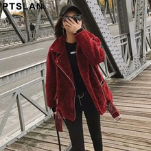 Ptslan Women Winter  Sheep Fur Coat Ladies Thick Warm  Wool Female Jacket Coat