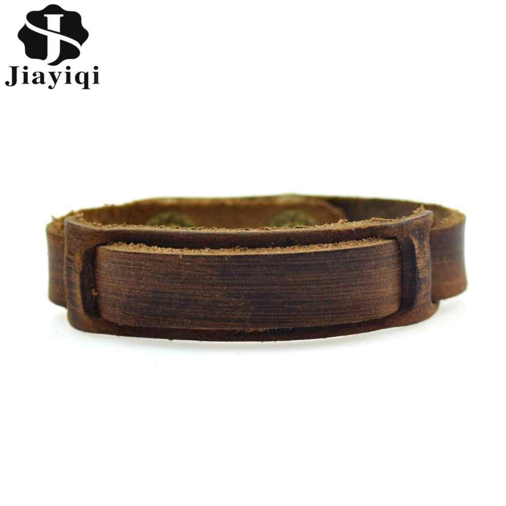 Jiayiqi Vintage Braided Genuine Leather Bracelets Brown Punk Bracelets & Bangles for Women Men Jewelry Handmade Accessory