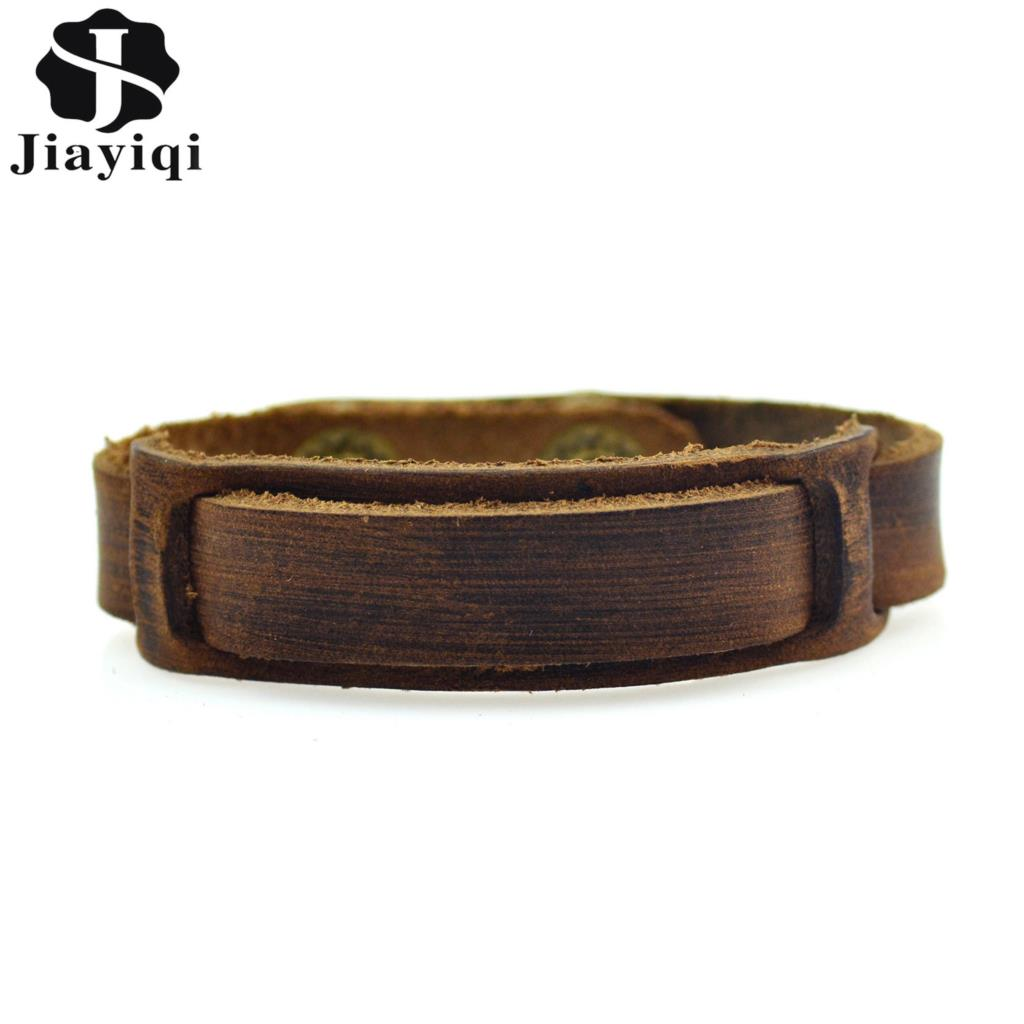 Jiayiqi Vintage Braided Genuine Leather Bracelets Brown Punk Bracelets & Bangles for Women Men Jewelry Handmade Accessory 1 pcs women lucky red string bracelets men jewelry 100% handmade bangles boho style girls gift