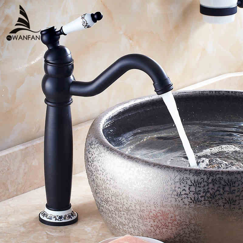 Basin Faucets Ceramic Handle Antique Crane Vanity Bathroom Taps White Gold Brass Water Washbasin Hot and Cold Mixer Cock SY-344R new designed antique brass bamboo arts bathroom basin sink drain pop up waste vanity with overflow