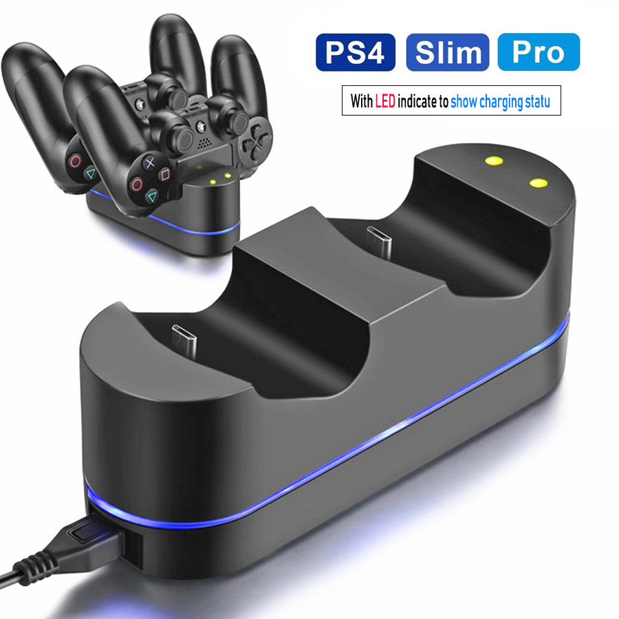 PS4 Controller Charger for Sony PS4 / PS4 Pro / PS4 Slim DualShock 4 Controller, Dual USB LED Indicator Light(China)