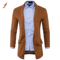 2017 Autumn Mens Slim Fit Coat knit Jackets Fashion Solid Long Trench Coat Jacket Men's Encapuchado Coat Jacket Pull Tops blouse