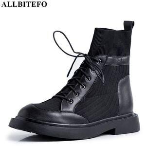 Image 2 - ALLBITEFO en cuir véritable + tricot à talons bas femmes bottes confortables bottines pour femmes automne filles chaussures femmes talons