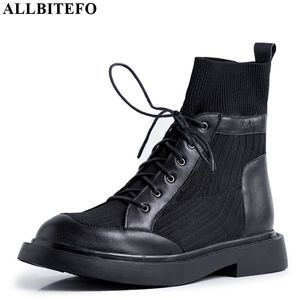 Image 2 - ALLBITEFO genuine leather+knitting low heeled women boots comfortable ankle boots for women autumn girls shoes women heels