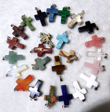 Wholesale Natural Stone Quartz Crystal tiger eye Opalite Unakite Mix Onyx Charms Cross Pendants For Jewelry Making necklace 12PC