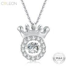 Coleon 100% 925 Sterling Silver Crown Pendant Varies Gemstones Dangling Gem Necklace Women Girls Christmas Birthday Fine Jewelry