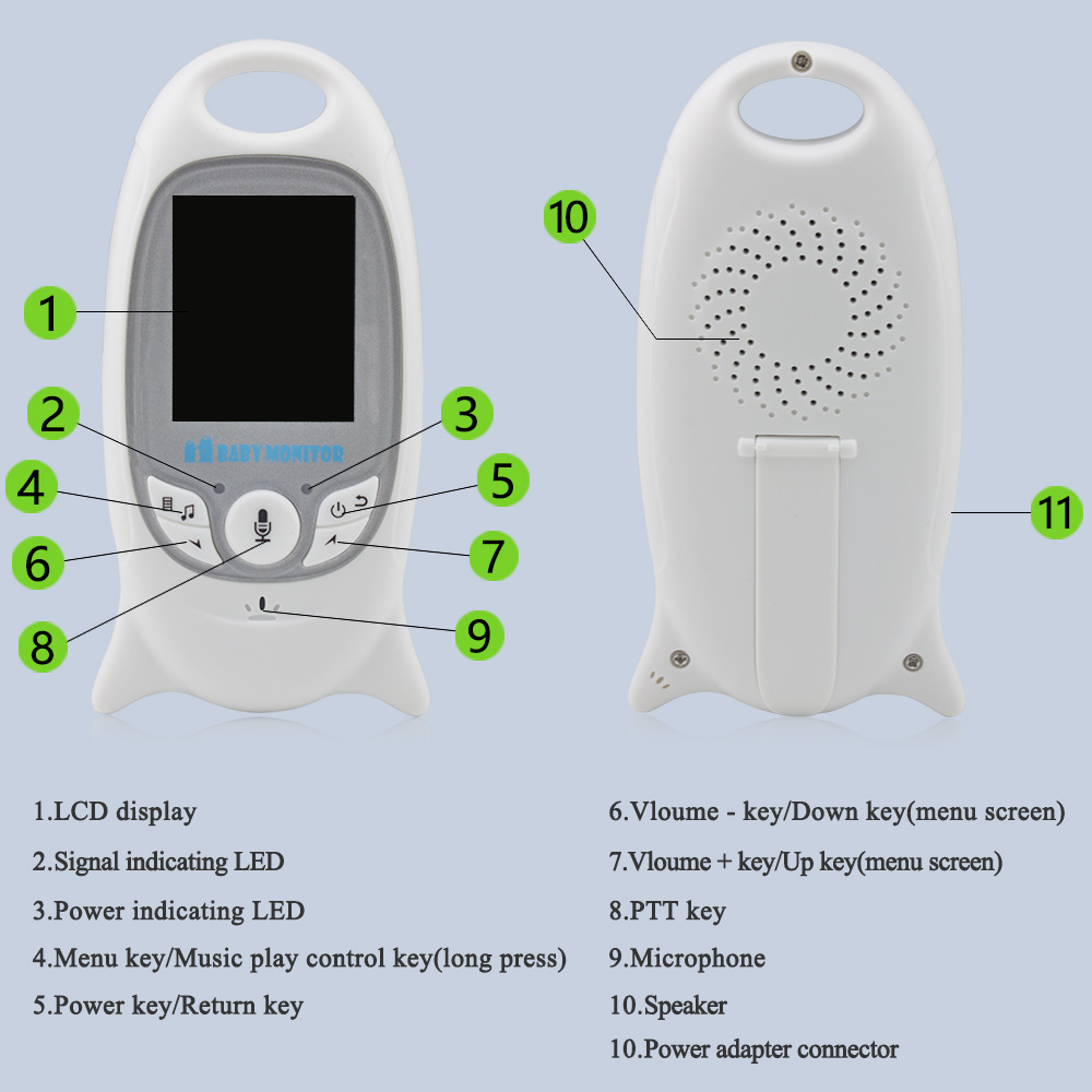 2 inch Wireless Baby Monitor With Two Way Voice Intercom For child Security 3