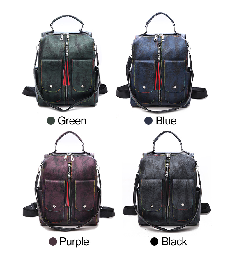 HTB1dVuFaovrK1RjSspcq6zzSXXal Retro Leather Women Backpack Zipper School Backpacks For Teenage Girls Bag Large Capacity Multifunction Mochila Feminina XA227H