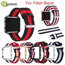 Купить с кэшбэком 23mm WatchBand For Fitbit Blaze Wristband Fine Woven Nylon Sport Strap + Case Cover Bracelet  Replacement smart Watchstrap belt