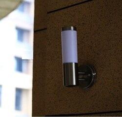 Nowoczesne lampy ścienne LED na zewnątrz oświetlenie kinkiety ścienne wodoodporna ogród oprawy ścienne ze stali nierdzewnej akrylowe ganek światła w Zewnętrzne kinkiety LED od Lampy i oświetlenie na