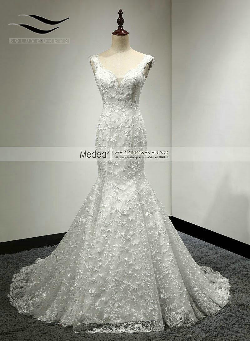 Lengan Cap Beaded Mermaid Sexy Lace Wedding Dress 2018 Murah Robe De Mariage Bridal Gown Vestidos De Novia Casamento SLW123