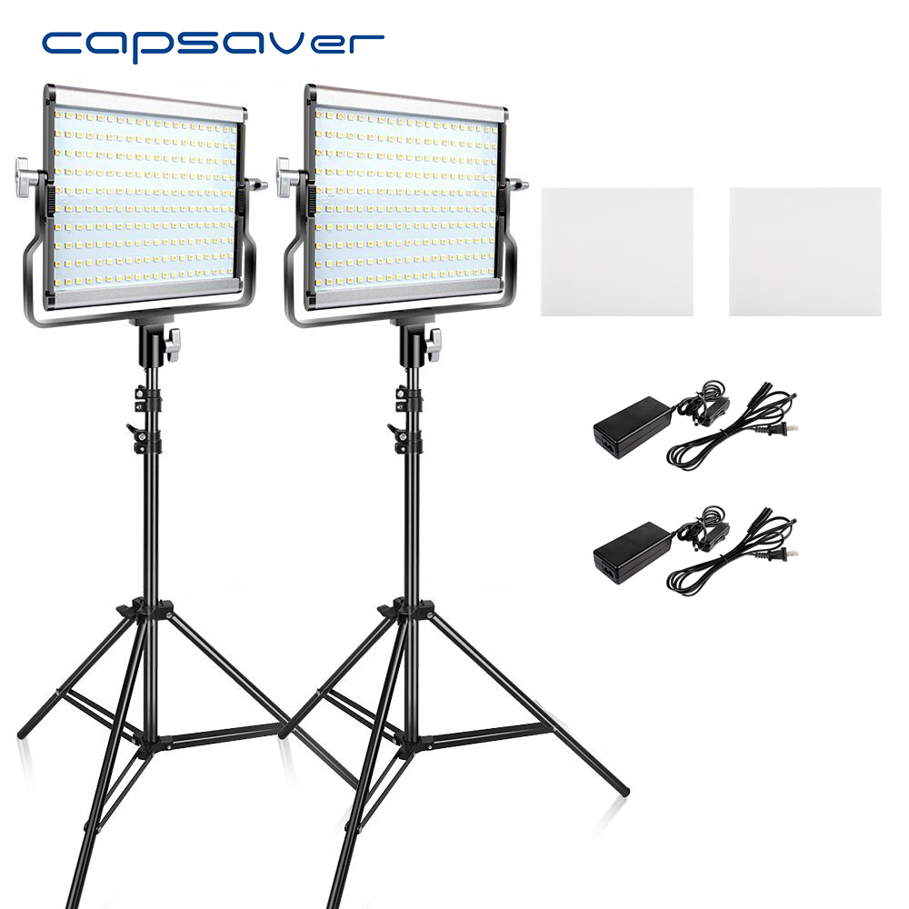 Led Fotoleuchte Capsaver L4500 2 Sets Led Videoleuchte Kit Mit Stativ Dimmbar Bi Color 3200k 5600k Cri 95 Studio Foto Lampe Metall Panel