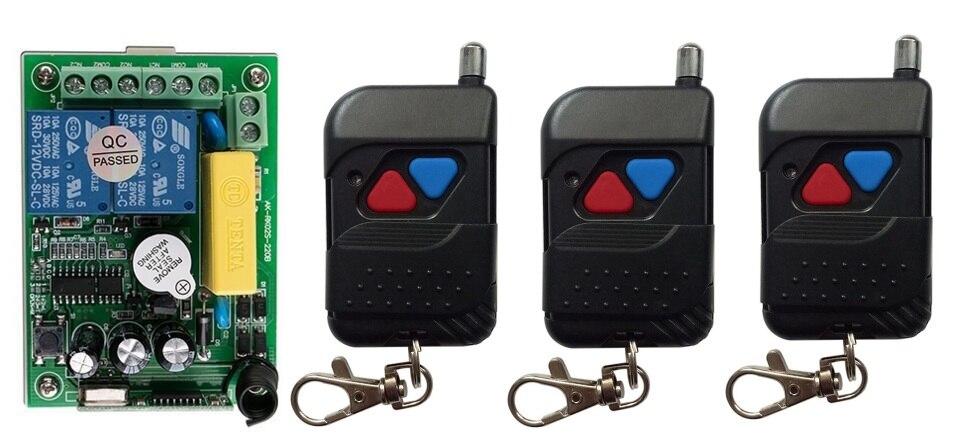 AC220V 2ch Беспроводной Дистанционное управление переключатель Системы teleswitch 1 * приемник + 3 * черный передатчики для Приспособления ворота гара...