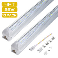 4FT T8 AC85 265V Shape Integrated LED Tube Light 36W 6500K White Light Double Wall Lamp Row Clear White Cover Aluminum+PC