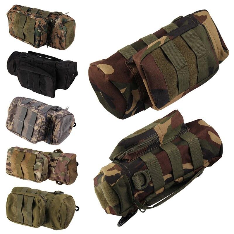 Prix pour Molle Zipper Bouteille D'eau Poche hydrofuge Camo 7 Couleurs Bouteille D'eau Tactique Militaire Pack De Haute Qualité Sac pour voyage Kit