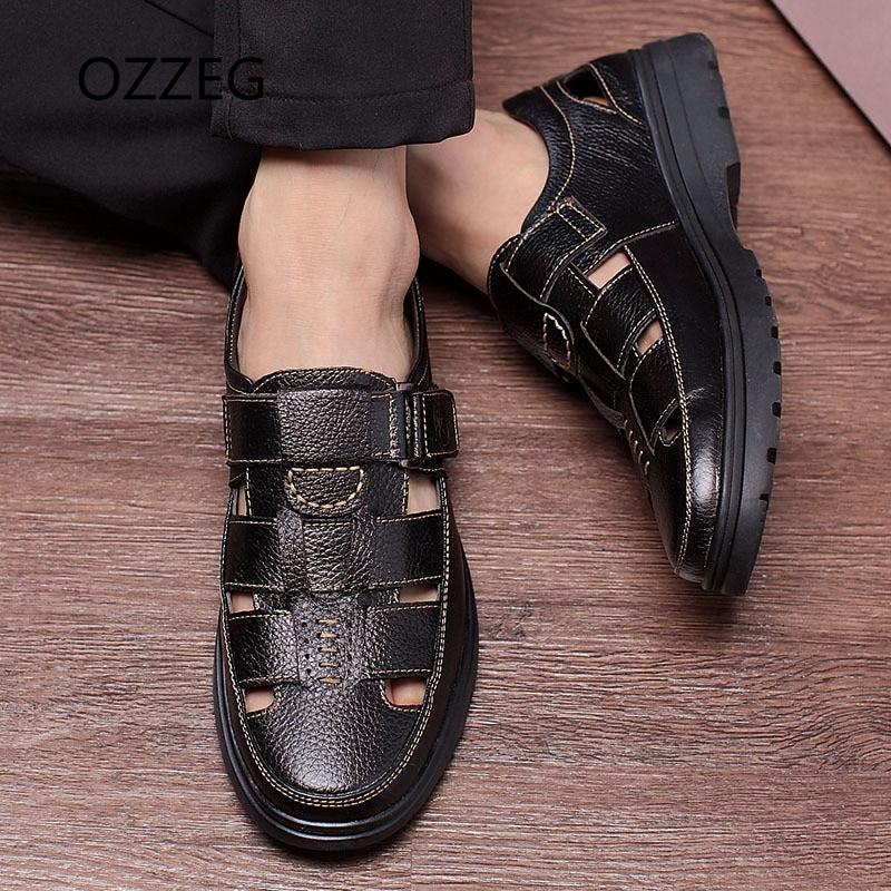 Mænds Sandaler Mænds Tøfler Real Læder Sko Sommer Strand Sandaler - Mænds sko